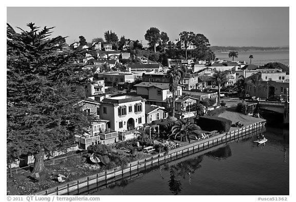 Houses bordering Soquel Creek from above. Capitola, California, USA (black and white)