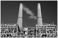 Natural gas powered electricity generation plant, Moss Landing. California, USA ( black and white)