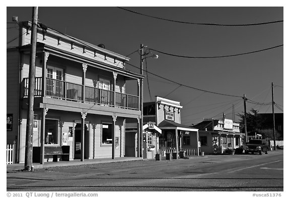 Storefronts, Moss Landing. California, USA (black and white)