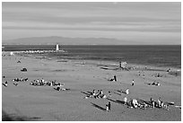 Beach and lighthouse, afternoon. Santa Cruz, California, USA ( black and white)