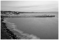 Fishing Pier at sunset. Capitola, California, USA (black and white)