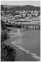 Fishing Pier and village at dusk. Capitola, California, USA (black and white)