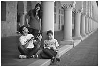 Students on the Quad. Stanford University, California, USA (black and white)