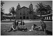 Students on lawn. Stanford University, California, USA ( black and white)