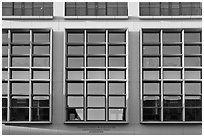 Facade detail, Knight Management Center, Stanford Business School. Stanford University, California, USA (black and white)