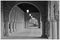 Main Quad hallway. Stanford University, California, USA ( black and white)