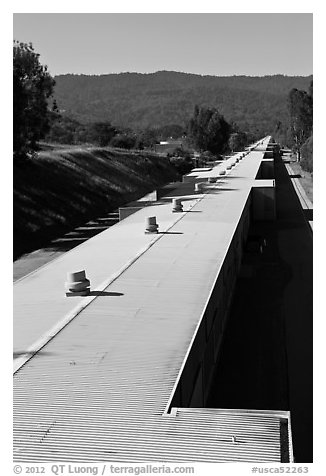 Two-mile long linear accelerator. Stanford University, California, USA (black and white)