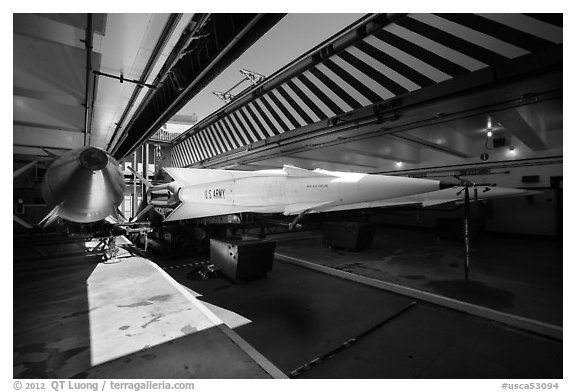 Nike Nuclear missiles in storage room. California, USA (black and white)