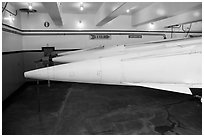 Tips of nuclear-armed Nike missiles. California, USA (black and white)