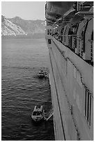 View from cruise ship anchored off island coast, Catalina. California, USA (black and white)