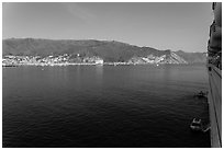 Avalon seen from cruise ship, Catalina Island. California, USA (black and white)