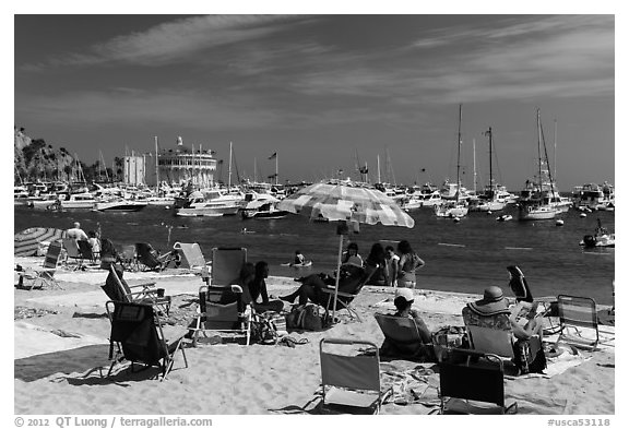 Beach and harbor, Avalon, Catalina Island. California, USA (black and white)