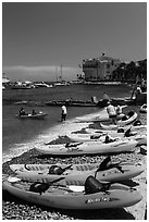 Sea kayaks and casino, Avalon Bay, Catalina Island. California, USA (black and white)