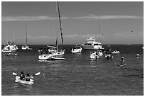 Recreational activities on water, Avalon, Santa Catalina Island. California, USA (black and white)