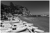 Descanson beach and sea kayaks, Avalon, Santa Catalina Island. California, USA (black and white)