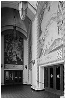 Casino lobby with large frescoes, Catalina Island. California, USA (black and white)