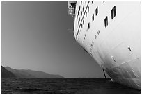 Cruise seen from waterline, Catalina Island. California, USA (black and white)