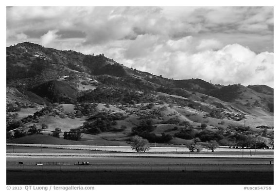 Agricultural lands and hills near King City. California, USA (black and white)