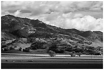 Agricultural lands and hills near King City. California, USA ( black and white)