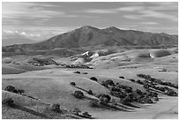 Gabilan Mountains raising above hills. California, USA (black and white)