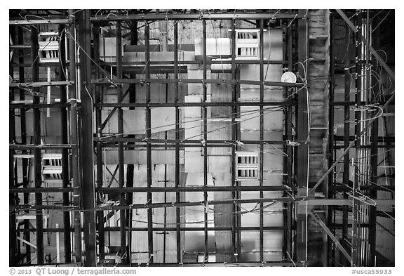 Ceiling of sound stage, Paramount Pictures Studios. Hollywood, Los Angeles, California, USA (black and white)