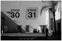 Shadows outside the sound stages, Studios at Paramount lot. Hollywood, Los Angeles, California, USA (black and white)