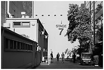 Outside huge stage buildings, Studios at Paramount. Hollywood, Los Angeles, California, USA (black and white)