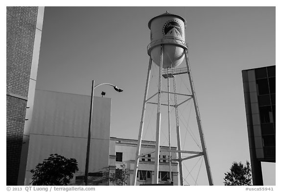 Water tower, old and new buildings, Studios at Paramount. Hollywood, Los Angeles, California, USA (black and white)
