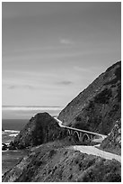 Winding Highway 1. Big Sur, California, USA (black and white)