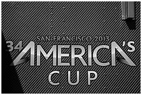 America's cup logo. San Francisco, California, USA (black and white)