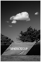 34th Americas cup sign, trees, and clouds. San Francisco, California, USA ( black and white)
