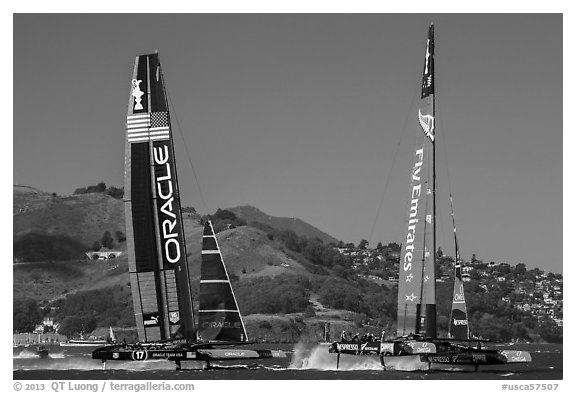 USA and New Zealand boats foiling at 40 knots during final race of America's cup. San Francisco, California, USA (black and white)
