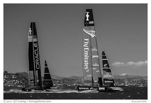 New Zealand boat leading USA boat on first downwind leg of decisive race. San Francisco, California, USA (black and white)