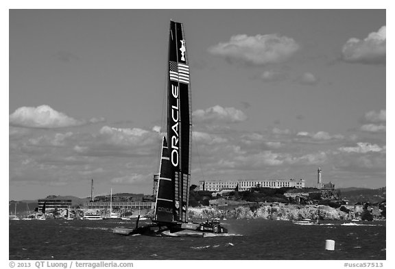 Oracle Team USA AC72 America's cup boat and Alcatraz Island. San Francisco, California, USA (black and white)
