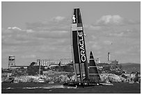 Oracle Team USA 17 boat sails to victory in front of Alcatraz during winner-take-all race. San Francisco, California, USA (black and white)