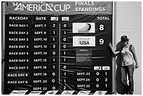 Woman with patriotic gear standing next to final scoreboard. San Francisco, California, USA (black and white)