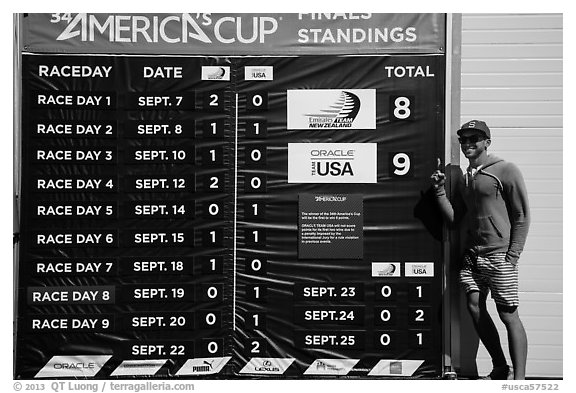Man with patriotic gear standing next to final scoreboard. San Francisco, California, USA (black and white)