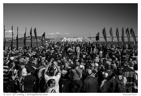 Podium, America's Cup Park. San Francisco, California, USA (black and white)