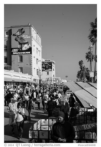 Crowded Ocean Front Walk in summer. Venice, Los Angeles, California, USA (black and white)