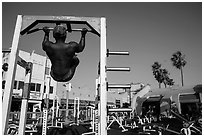 Muscle Beach, Ocean Front Walk. Venice, Los Angeles, California, USA ( black and white)