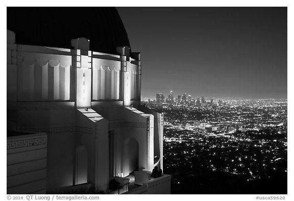 Griffith Observatory and downtown skyline at night. Los Angeles, California, USA (black and white)