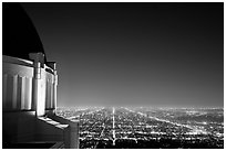 Griffith Observatory and street lights at night. Los Angeles, California, USA ( black and white)