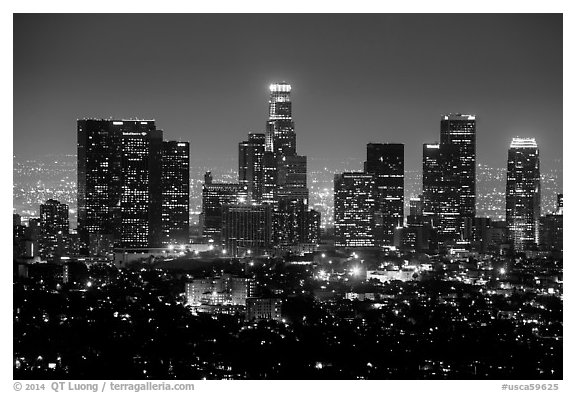 Skyline at night from above. Los Angeles, California, USA (black and white)