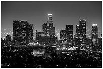 Skyline at night from above. Los Angeles, California, USA ( black and white)