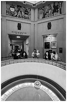 Foucault pendulum, Griffith Observatory. Los Angeles, California, USA ( black and white)