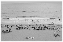 Beachgoers from above, Redondo Beach. Los Angeles, California, USA ( black and white)