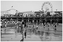 Beach and pier. Santa Monica, Los Angeles, California, USA ( black and white)