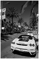 Ferrari car parked on Rodeo Drive. Beverly Hills, Los Angeles, California, USA ( black and white)