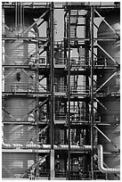 Detail of stairs and process unit in oil refinery, Manhattan Beach. Los Angeles, California, USA ( black and white)