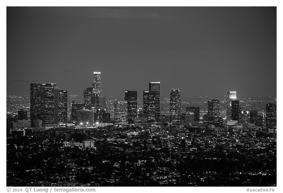 City Skyline at dusk. Los Angeles, California, USA (black and white)